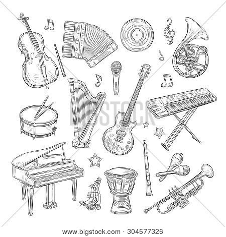 Musical Instruments Doodles. Drum Flute Synthesizer Accordion Guitar Microphone Piano Musical Notes