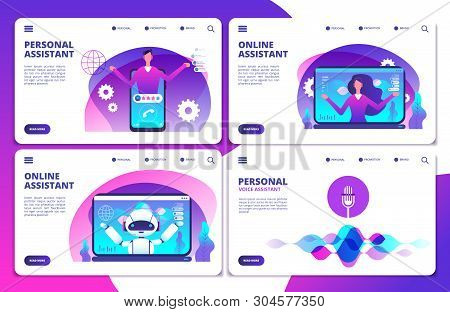 Vector Personal Assistant, Voice Assistant, Online Robotic Assistant Landing Page Set. Voice Smart A
