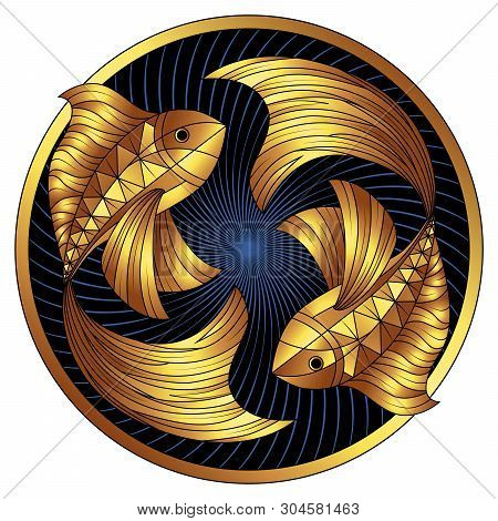 Golden Pisces Zodiac Sign, Gilt Astrological Icon, Horoscope Symbol. Stylized Graphic Two Gold Fish