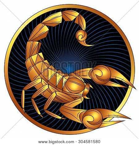 Scorpio Zodiac Sign Of Gold, Astrological Icon, Horoscope Symbol. Stylized Graphic Golden Scorpion W