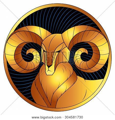 Aries, Golden Zodiac Sign, Astrological Icon, Horoscope Symbol. Stylized Graphic Gilded Portrait Of