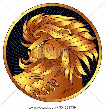 Leo Golden Zodiac Sign, Astrological Icon, Horoscope Symbol Of Gold. Lion With Gilded Mane And Claws