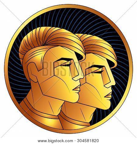 Gemini Golden Zodiac Sign, Astrological Icon, Horoscope Symbol Of Gold. Stylized Graphic  Gilded Por