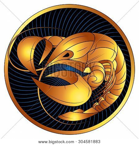 Cancer, Golden Zodiac Sign, Astrological Icon, Horoscope Symbol Of Gold. Stylized Graphic, Gilded A