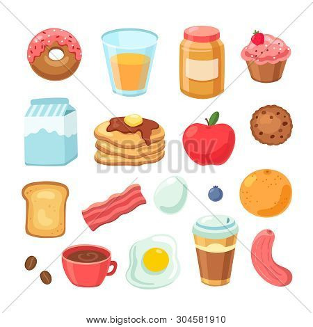 Cartoon Breakfast Food. Bagel Bacon Jam Egg Sandwich Healthy Fruit And Juice. Breakfast Meal Isolate