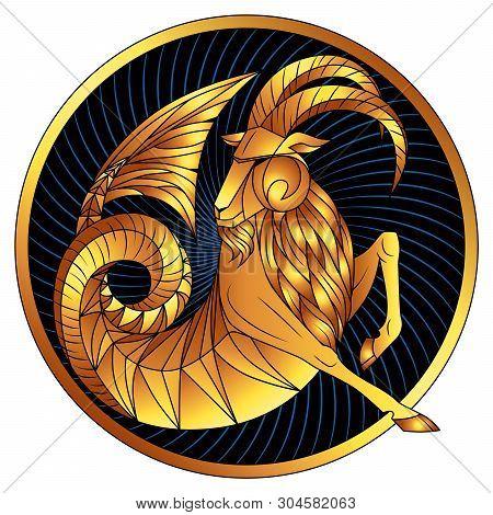 Capricorn, Zodiac Sign Of Gold, Astrological Icon, Horoscope Symbol. Stylized Graphic Golden Fantast