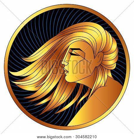 Virgo Golden Zodiac Sign, Astrological Icon, Horoscope Symbol Of Gold. Stylized Graphic  Profile Gil