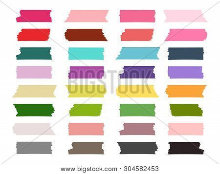Mini Washi Tape Strips Colorful Vector Collection. Illustration Of Scrapbook Tape Sticker, Label Str