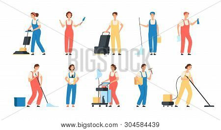 Cleaning Service Workers. Male Female Cleaner Housemaids Mop Floor Polish Washing Machine Household