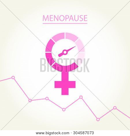Menopause Concept With Woman Gender Sign -  Climax, Climacteric Female Icon