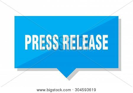 Press Release Blue Square Price Tag On White Background