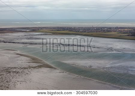 Aerial View Dutch Island Schiermonnikoog With Lighthouse Sand Low Tide At Waddensea