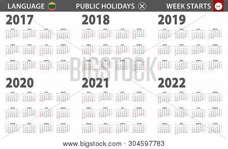 2017-2022 Year Calendar In Lithuanian Language, Week Starts From Sunday. Vector Calendar.