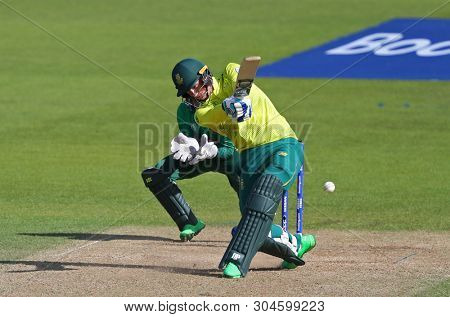 LONDON, ENGLAND. 02 JUNE 2019: Rassie van der Dussen of South Africa hits the ball for four runs during the South Africa v Bangladesh, ICC Cricket World Cup match, at the Kia Oval, London, England.