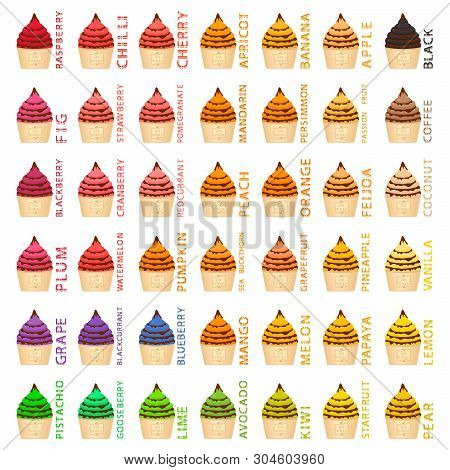 Big Colorful Set Different Types Natural Ice Cream, Structure Icecream Various Size. Icecream Consis