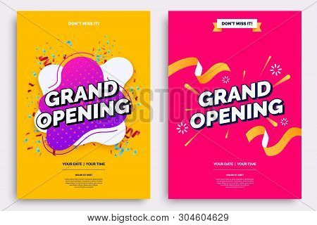Grand Opening Invitationt Template. Colorful Creativity Design With Bold Text, Bright Background And