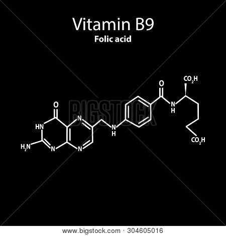 Vitamin B9. Folic Acid Molecular Chemical Formula. Infographics. Vector Illustration On Black Backgr