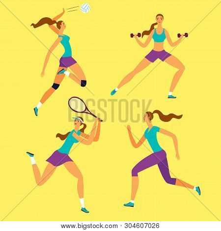 Beautiful Dynamic Woman Doing Sport Exersises. Set Of Different Kinds Of Sport: Volleyball, Tennis,