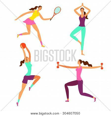 Beautiful Dynamic Woman Doing Sport Exersises. Set Of Different Kinds Of Sport: Basketball, Tennis,