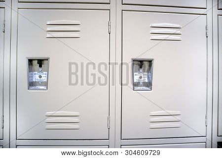 A Close Up Of Two Public Lockers