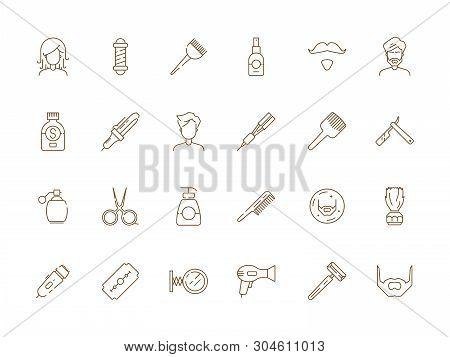 Barbershop Icon. Man Shaving And Grooming Tools Beauty Haircut Salon Hair Trim Vector Thin Line Symb
