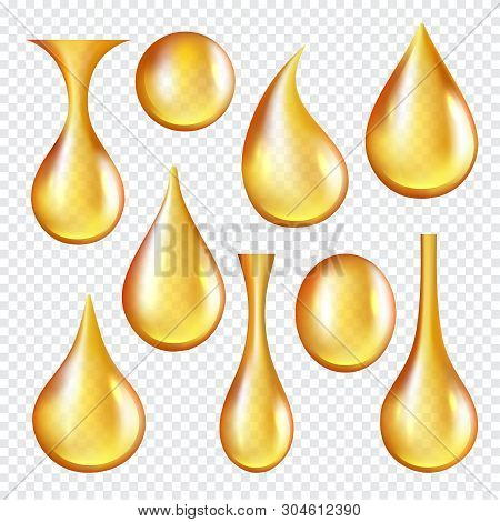 Oil Transparent Drops. Yellow Liquid Golden Oil Vector Realistic Collection Of Splashes. Transparent