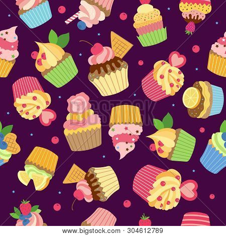 Cupcake Pattern. Gourmet Sweet Baked Products With Syrup Chocolate Cream And Fruits Vector Colored S