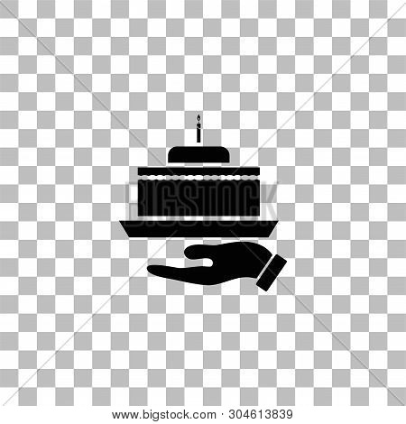 Pie. Black Flat Icon On A Transparent Background. Pictogram For Your Project
