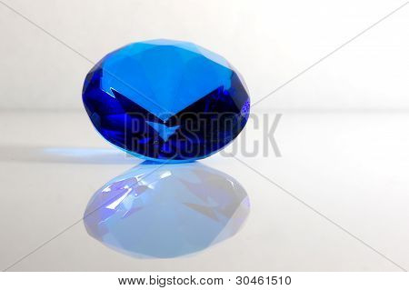 Faceted Blue Gemstone Isolated on White