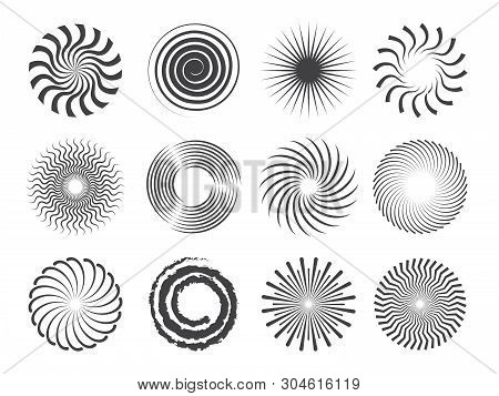 Spiral Design. Circles Swirls And Stylized Whirlpool Abstract Vector Shapes Isolated. Illustration O