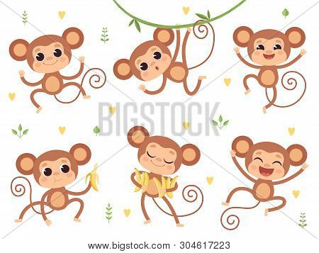 Cute Monkeys. Jungle Wild Animals Baby Little Monkeys Playing Vector Characters In Action Poses. Hap