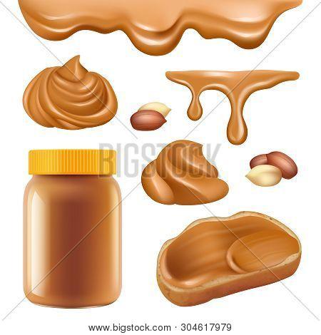 Peanut Butter. Healthy Dessert Chocolate Protein Oily Cream For Sandwich Spread Caramel Food Vector