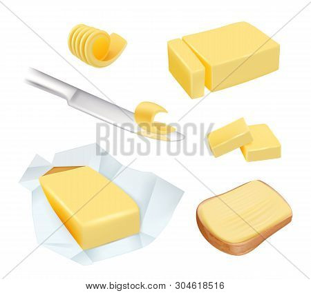 Butter. Calorie Product Margarine Or Milk Butter Blocks Dairy Breakfast Food Vector Pictures. Illust