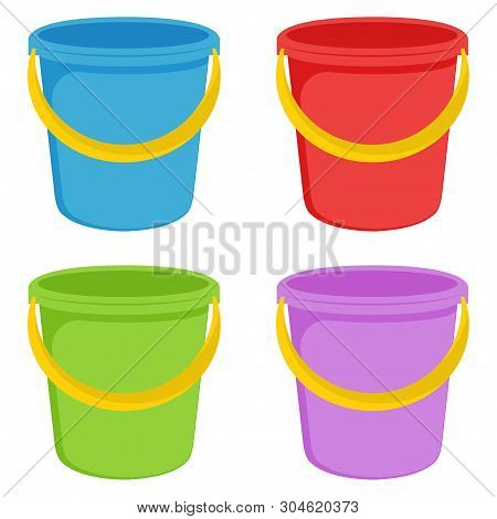 Buckets. Red, Blue, Green And Purple Plastic Buckets With A Yellow Handle. Isolated White Background