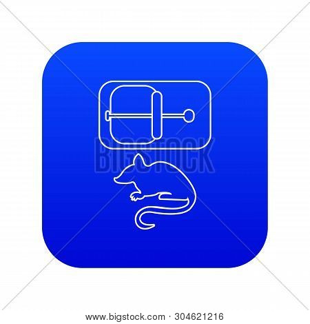 Mousetrap Icon Blue Vector Isolated On White Background