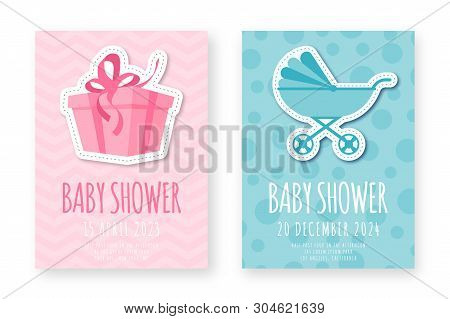 Baby Shower Greeting Card Template. Set Of Cute Posters For Birthday Party, Baby Shower Event. Pink