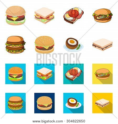 Isolated Object Of Sandwich And Wrap Symbol. Set Of Sandwich And Lunch Stock Vector Illustration.