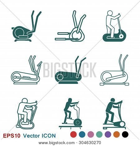 Elliptical machine gym icon, vector sign symbol for design poster