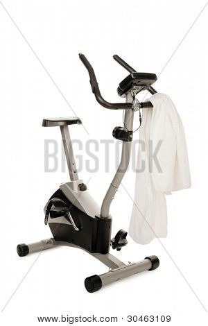 gym bicycle machine isolated on white