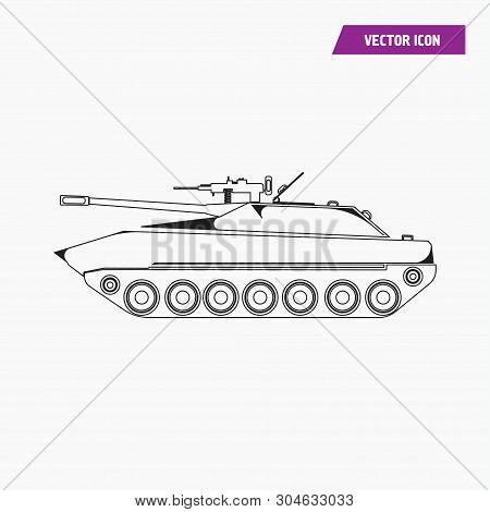 Black Linear Style Military Tank Icon. Isolated On White Background. Vector.