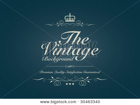 Blue Dotted Vintage Background With Ornament