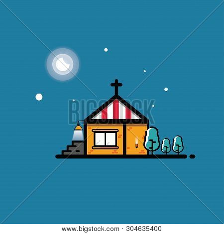 Infographic Paradise Store. Church Icon. Detached House With Trees And Yard On Blue Background With