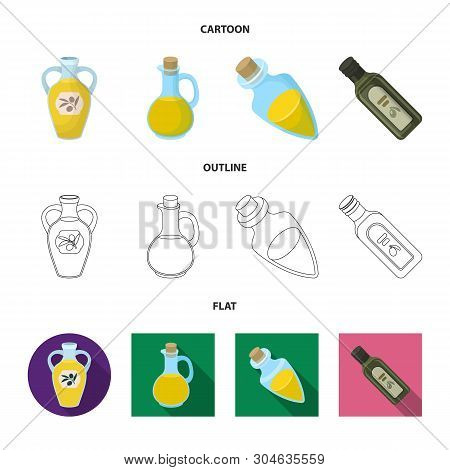 Vector Illustration Of Food  And Bung Icon. Collection Of Food  And Oil  Vector Icon For Stock.