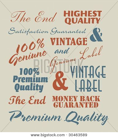 Vintage Label Inscriptions