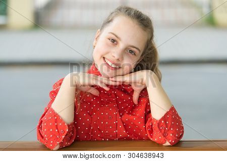 Happy Baby Face. Little Child With Cute Smile On Her Face. Small Girl Smiling With Healthy Young Fac