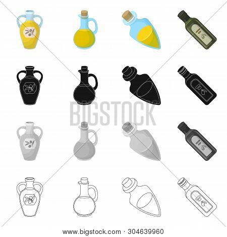 Isolated Object Of Food  And Bung Symbol. Collection Of Food  And Oil  Stock Symbol For Web.