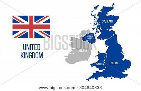 United Kingdom Map. England, Scotland, Wales, Northern Ireland. Vector Great Britain Map Wit Uk Flag