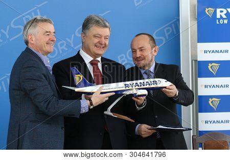 Boryspil, Ukraine - March 23, 2018: President Of Ukraine Petro Poroshenko, Ryanair Ceo Michael Olear