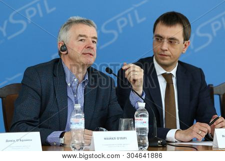 Boryspil, Ukraine - March 23, 2018: Ryanair Chief Executive Officer Michael Oleary And Ukraine Infra