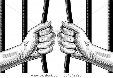 Hands bend metal prison grille. Vintage engraving stylized drawing